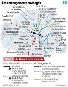 Carte des aménagement cyclables parisiens suite au COVID-19
