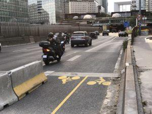 Piste cyclable temporaire sur le pont de Neuilly